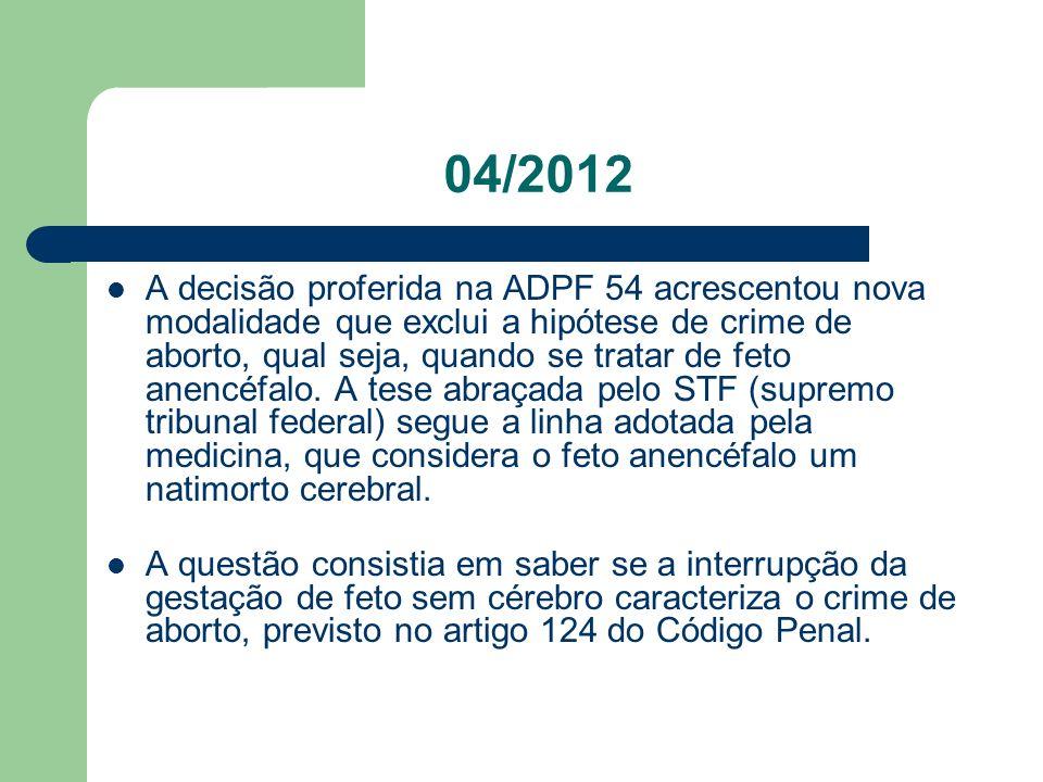 04/2012 A decisão proferida na ADPF 54 acrescentou nova modalidade que exclui a hipótese de crime de aborto, qual seja, quando se tratar de feto anenc