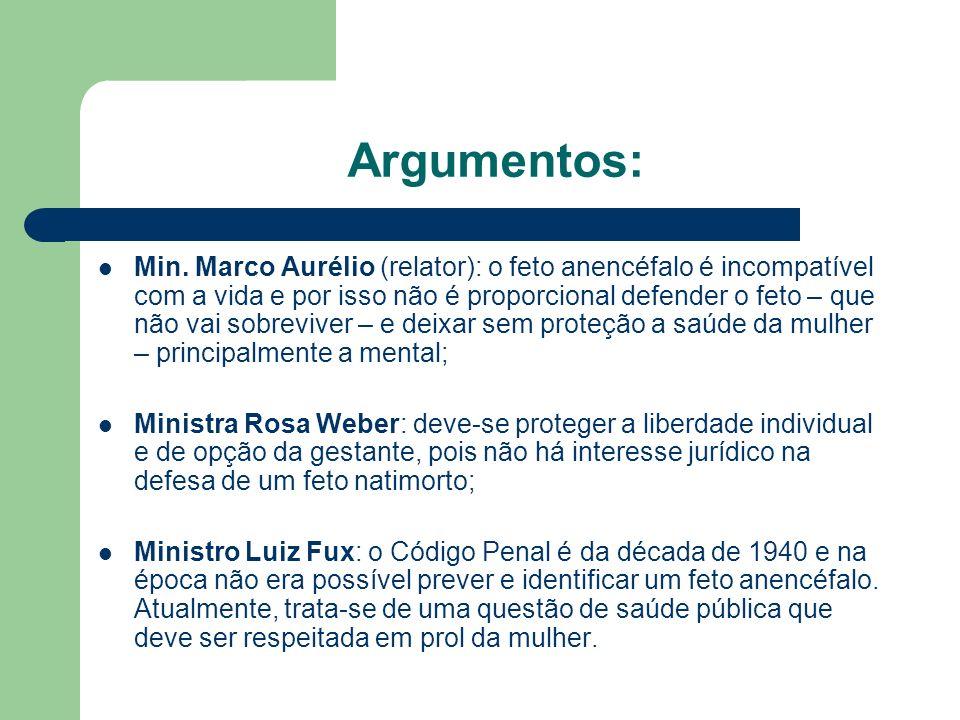 Argumentos: Ministra Cármen Lúcia: considerando que o feto não tem viabilidade fora do útero, deve-se proteger a mulher, que fica traumatizada com o insucesso da gestação.