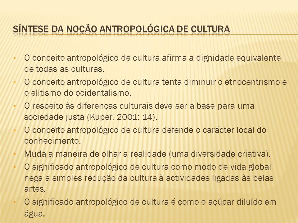 O conceito antropológico de cultura afirma a dignidade equivalente de todas as culturas. O conceito antropológico de cultura tenta diminuir o etnocent