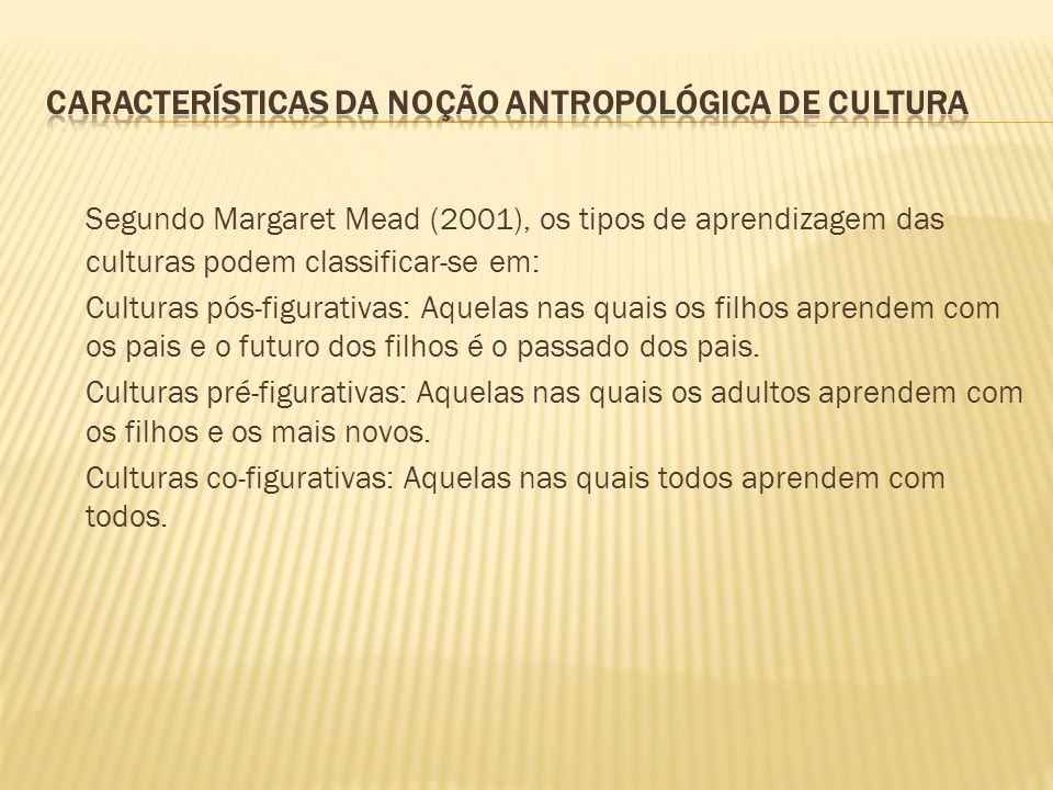 Segundo Margaret Mead (2001), os tipos de aprendizagem das culturas podem classificar-se em: Culturas pós-figurativas: Aquelas nas quais os filhos apr