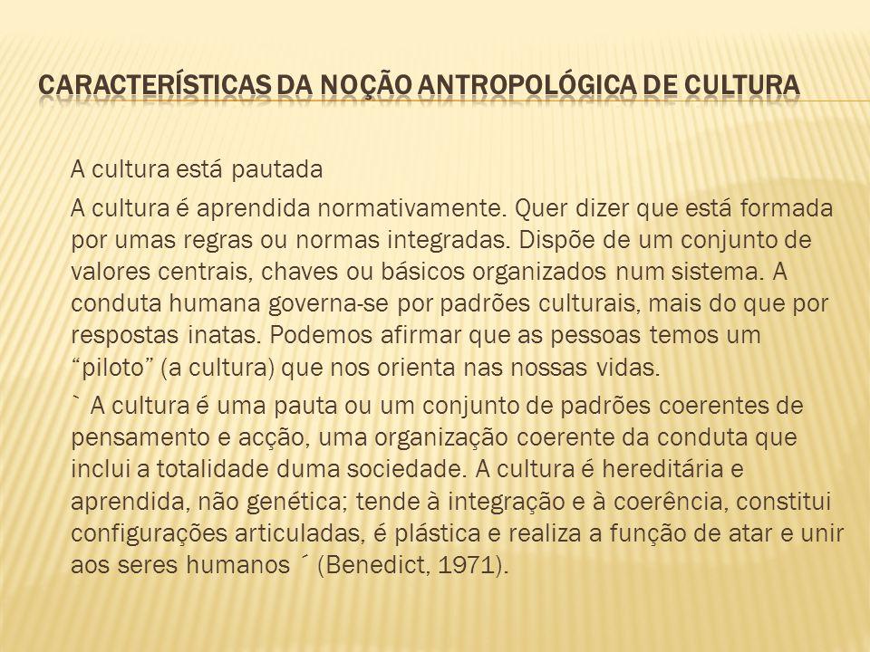 A cultura está pautada A cultura é aprendida normativamente. Quer dizer que está formada por umas regras ou normas integradas. Dispõe de um conjunto d