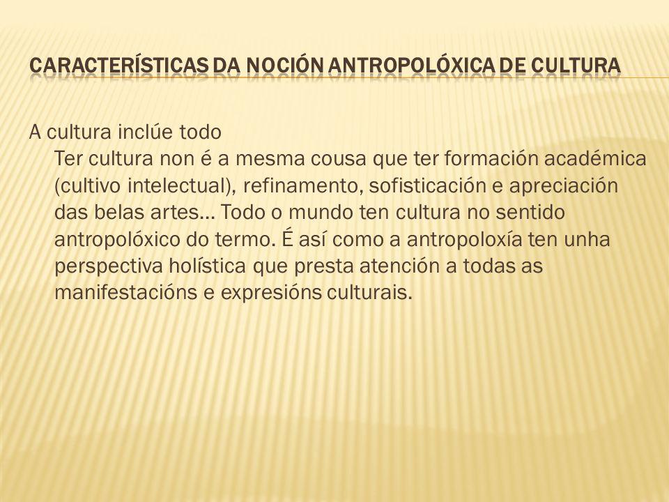 A cultura inclúe todo Ter cultura non é a mesma cousa que ter formación académica (cultivo intelectual), refinamento, sofisticación e apreciación das belas artes...