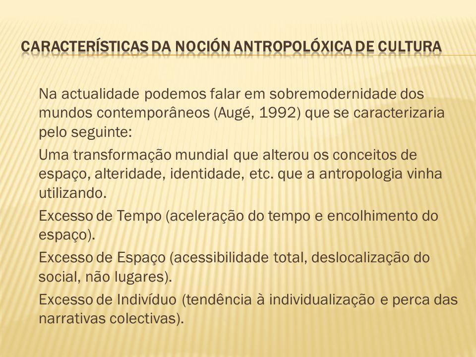 Na actualidade podemos falar em sobremodernidade dos mundos contemporâneos (Augé, 1992) que se caracterizaria pelo seguinte: Uma transformação mundial
