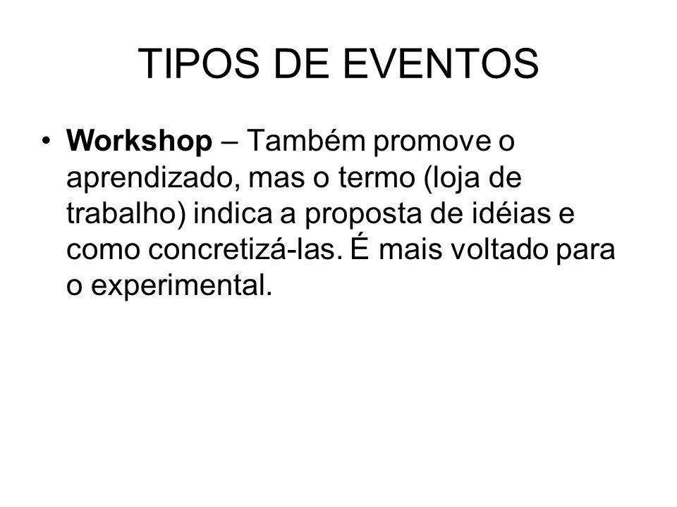TIPOS DE EVENTOS Workshop – Também promove o aprendizado, mas o termo (loja de trabalho) indica a proposta de idéias e como concretizá-las. É mais vol
