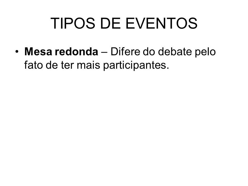 TIPOS DE EVENTOS Mesa redonda – Difere do debate pelo fato de ter mais participantes.