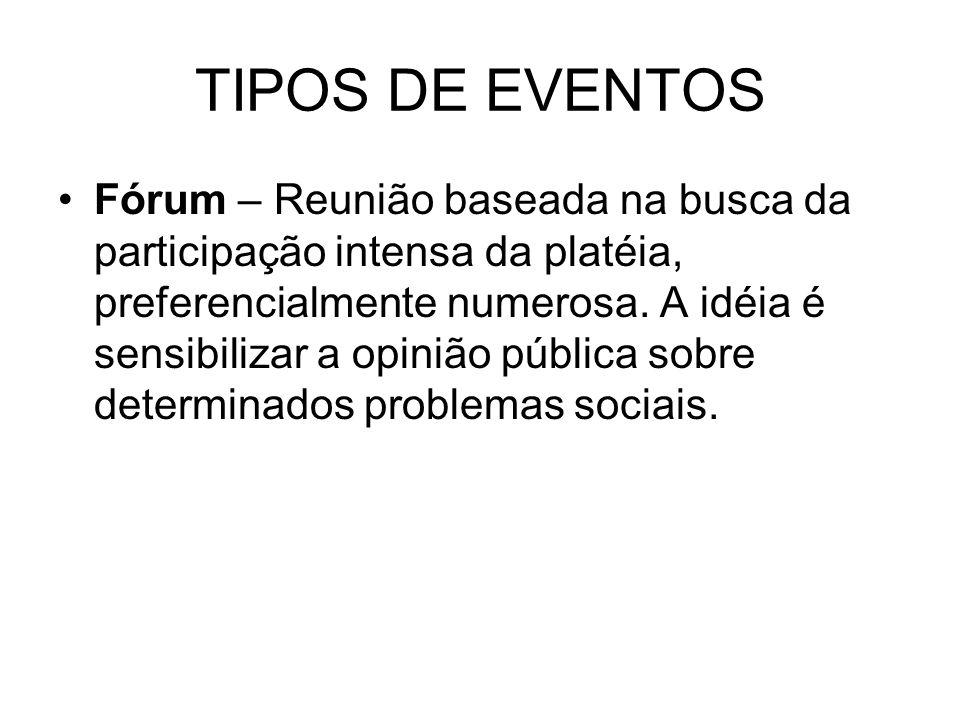 TIPOS DE EVENTOS Fórum – Reunião baseada na busca da participação intensa da platéia, preferencialmente numerosa. A idéia é sensibilizar a opinião púb