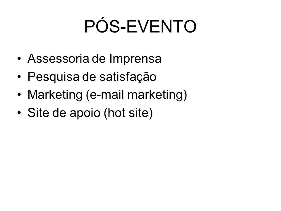 PÓS-EVENTO Assessoria de Imprensa Pesquisa de satisfação Marketing (e-mail marketing) Site de apoio (hot site)
