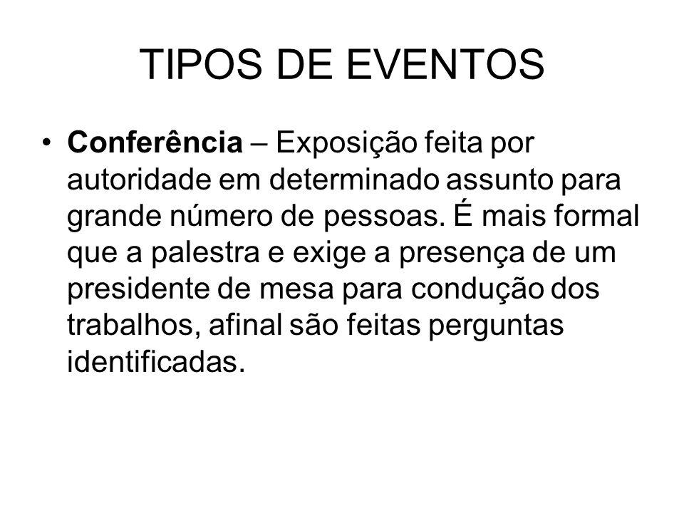 TIPOS DE EVENTOS Conferência – Exposição feita por autoridade em determinado assunto para grande número de pessoas. É mais formal que a palestra e exi