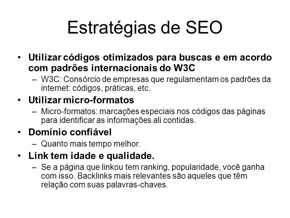 Estratégias de SEO Utilizar códigos otimizados para buscas e em acordo com padrões internacionais do W3C –W3C: Consórcio de empresas que regulamentam