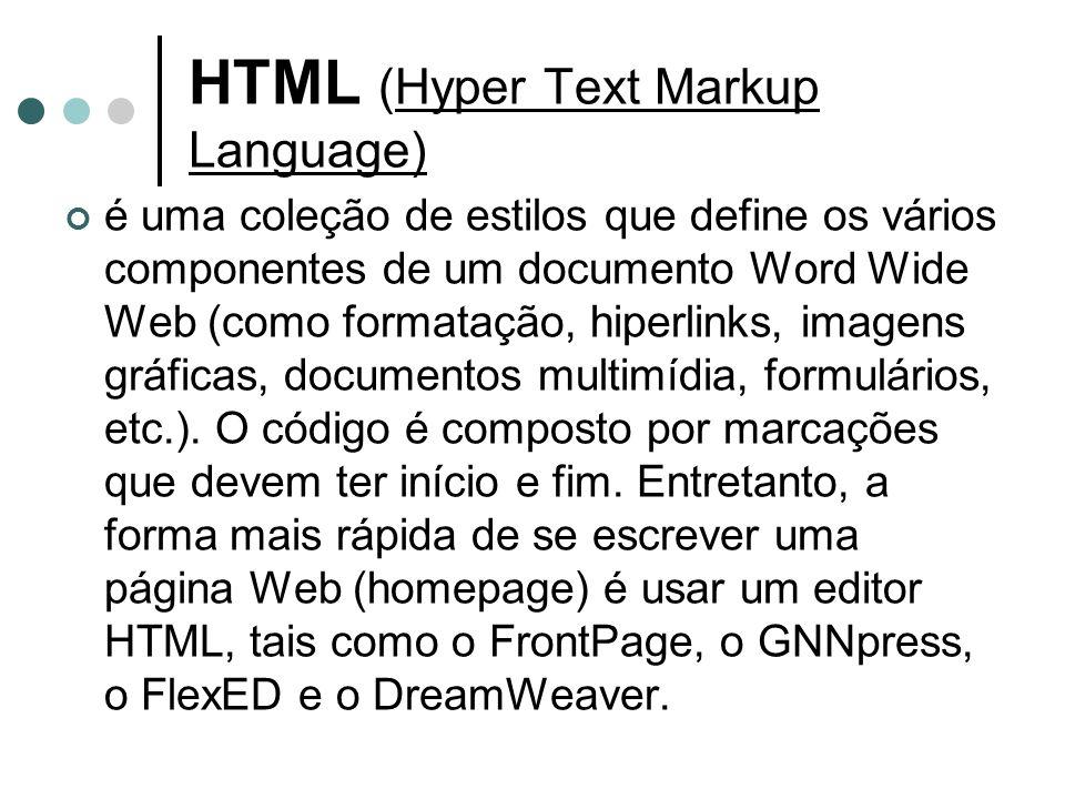 HTML (Hyper Text Markup Language) é uma coleção de estilos que define os vários componentes de um documento Word Wide Web (como formatação, hiperlinks