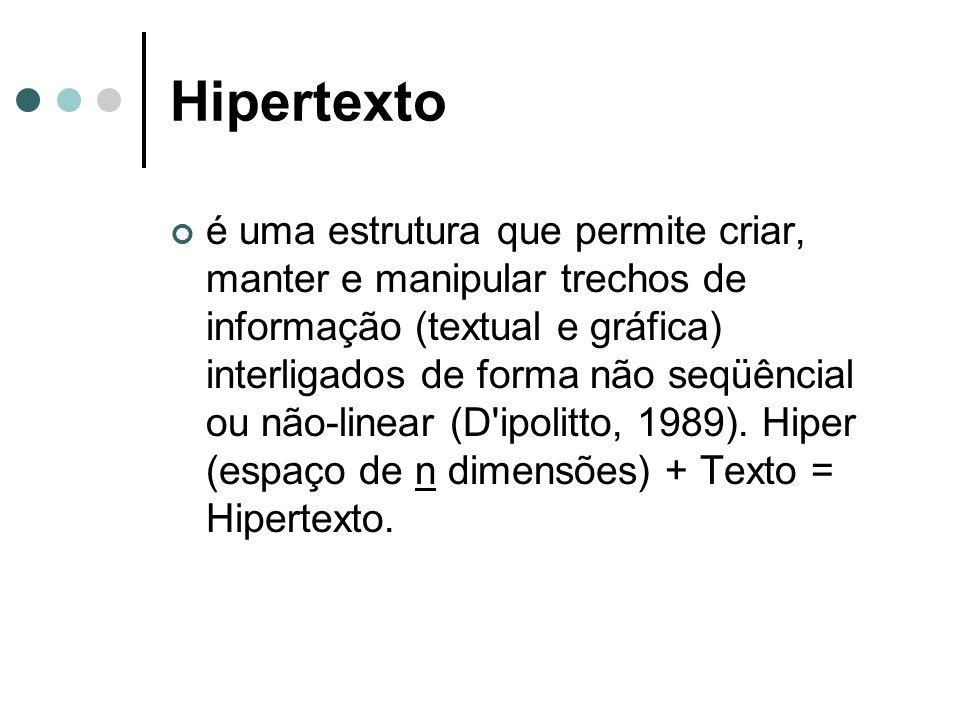 Hipertexto é uma estrutura que permite criar, manter e manipular trechos de informação (textual e gráfica) interligados de forma não seqüêncial ou não