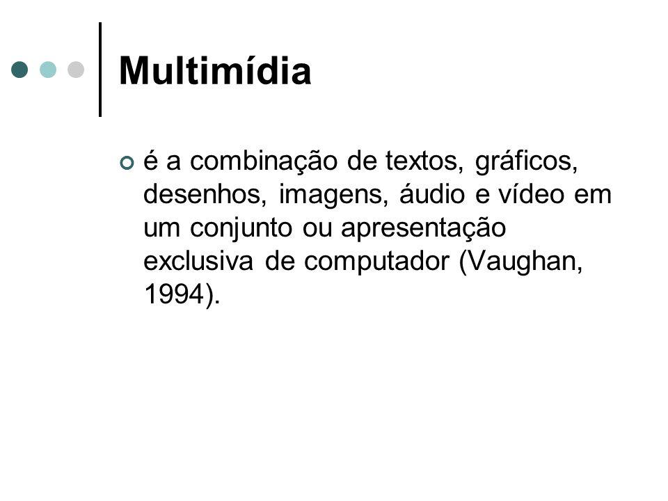Multimídia é a combinação de textos, gráficos, desenhos, imagens, áudio e vídeo em um conjunto ou apresentação exclusiva de computador (Vaughan, 1994)