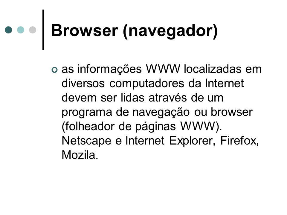 Browser (navegador) as informações WWW localizadas em diversos computadores da Internet devem ser lidas através de um programa de navegação ou browser