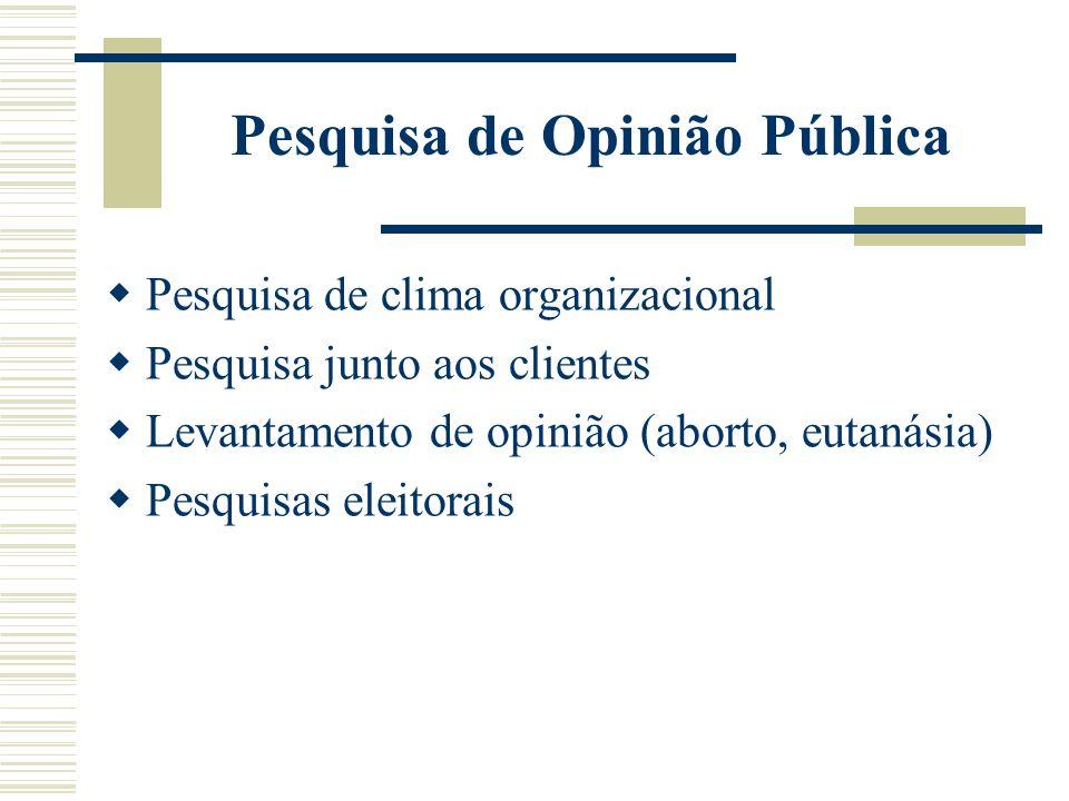 Pesquisa de Opinião Pública Pesquisa de clima organizacional Pesquisa junto aos clientes Levantamento de opinião (aborto, eutanásia) Pesquisas eleitor