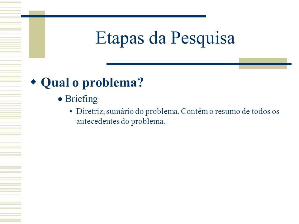 Etapas da Pesquisa Qual o problema? Briefing Diretriz, sumário do problema. Contém o resumo de todos os antecedentes do problema.