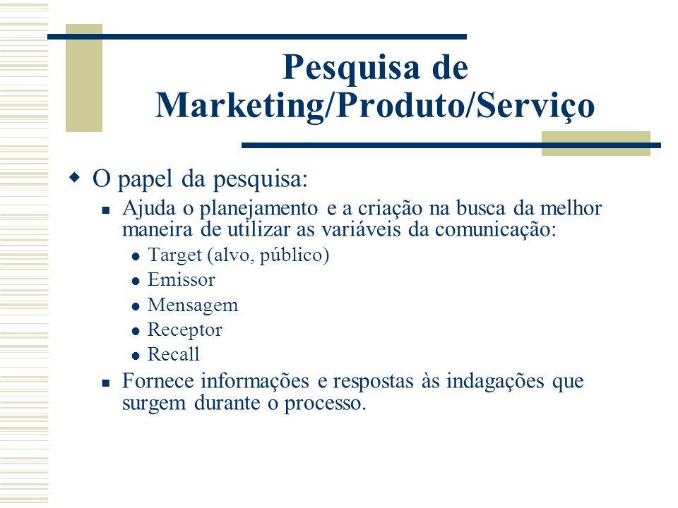 Pesquisa de Marketing/Produto/Serviço O papel da pesquisa: Ajuda o planejamento e a criação na busca da melhor maneira de utilizar as variáveis da com