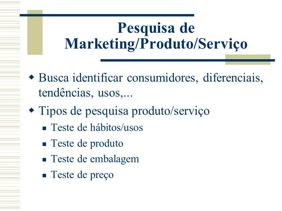 Pesquisa de Marketing/Produto/Serviço Busca identificar consumidores, diferenciais, tendências, usos,... Tipos de pesquisa produto/serviço Teste de há