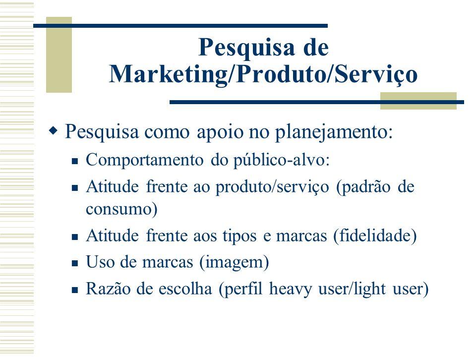 Pesquisa de Marketing/Produto/Serviço Pesquisa como apoio no planejamento: Comportamento do público-alvo: Atitude frente ao produto/serviço (padrão de