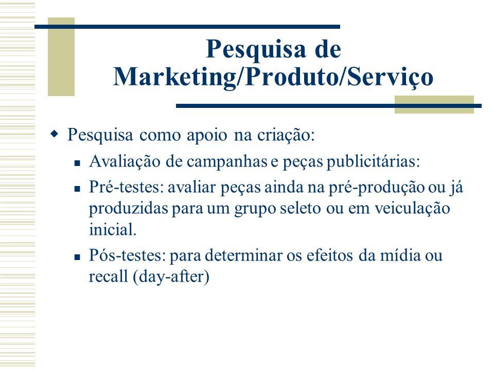 Pesquisa de Marketing/Produto/Serviço Pesquisa como apoio na criação: Avaliação de campanhas e peças publicitárias: Pré-testes: avaliar peças ainda na