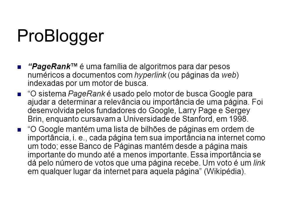 ProBlogger PageRank é uma família de algoritmos para dar pesos numéricos a documentos com hyperlink (ou páginas da web) indexadas por um motor de busc