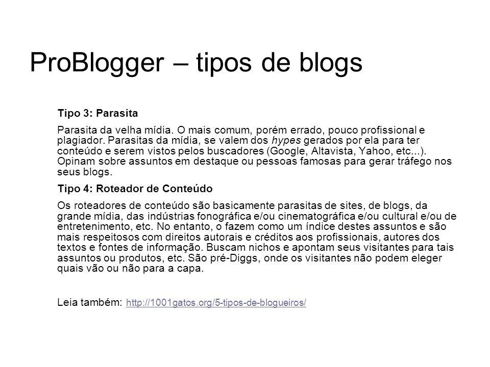 ProBlogger – tipos de blogs Tipo 3: Parasita Parasita da velha mídia. O mais comum, porém errado, pouco profissional e plagiador. Parasitas da mídia,