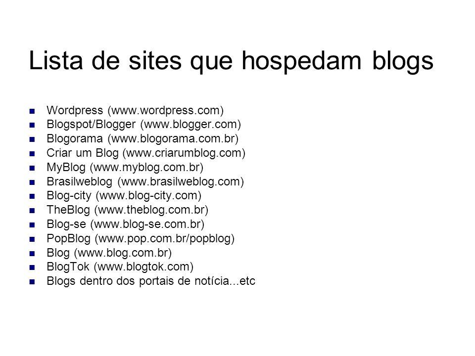 Lista de sites que hospedam blogs Wordpress (www.wordpress.com) Blogspot/Blogger (www.blogger.com) Blogorama (www.blogorama.com.br) Criar um Blog (www