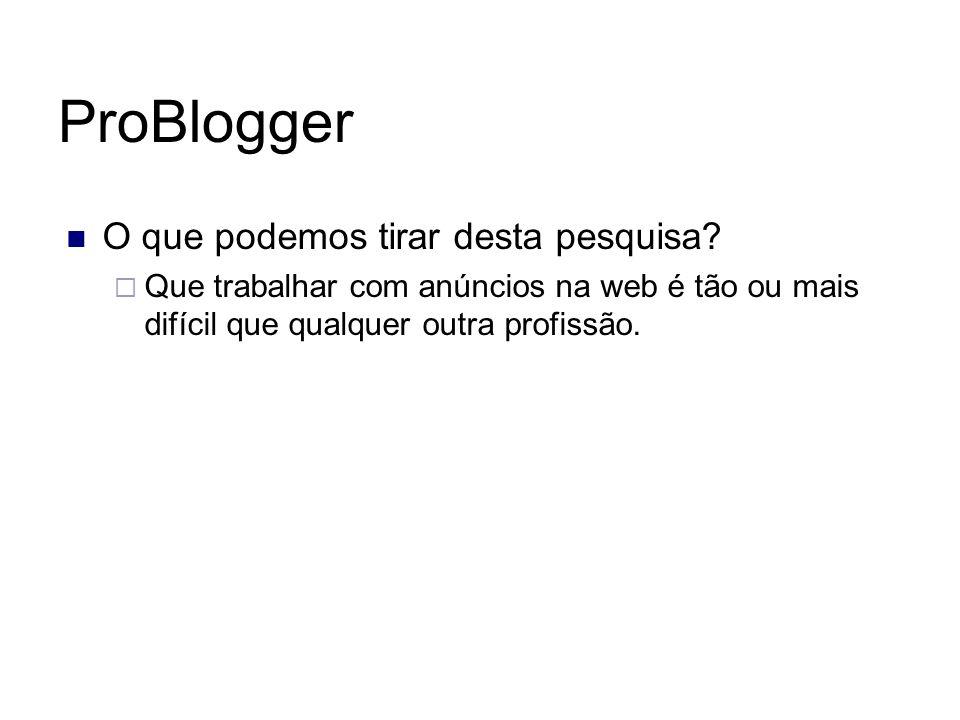 ProBlogger O que podemos tirar desta pesquisa? Que trabalhar com anúncios na web é tão ou mais difícil que qualquer outra profissão.