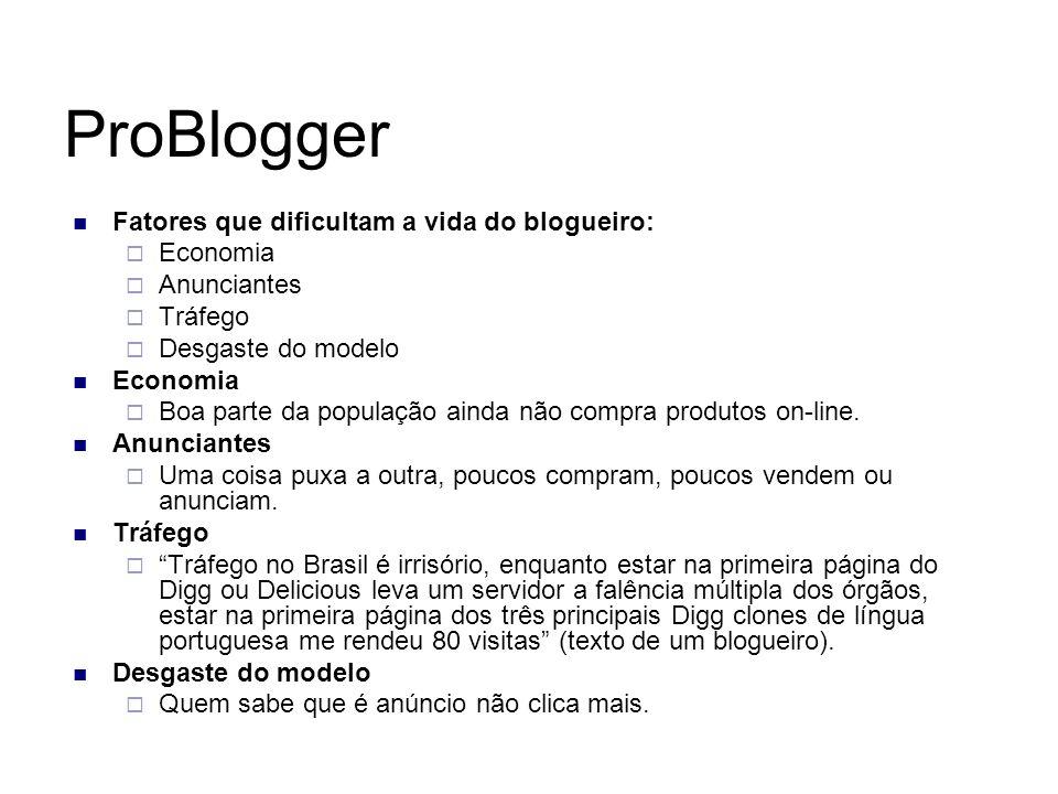 ProBlogger Fatores que dificultam a vida do blogueiro: Economia Anunciantes Tráfego Desgaste do modelo Economia Boa parte da população ainda não compr