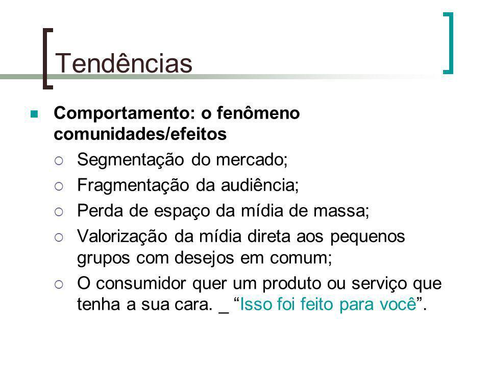 Tendências Comportamento: o fenômeno comunidades/efeitos Segmentação do mercado; Fragmentação da audiência; Perda de espaço da mídia de massa; Valoriz