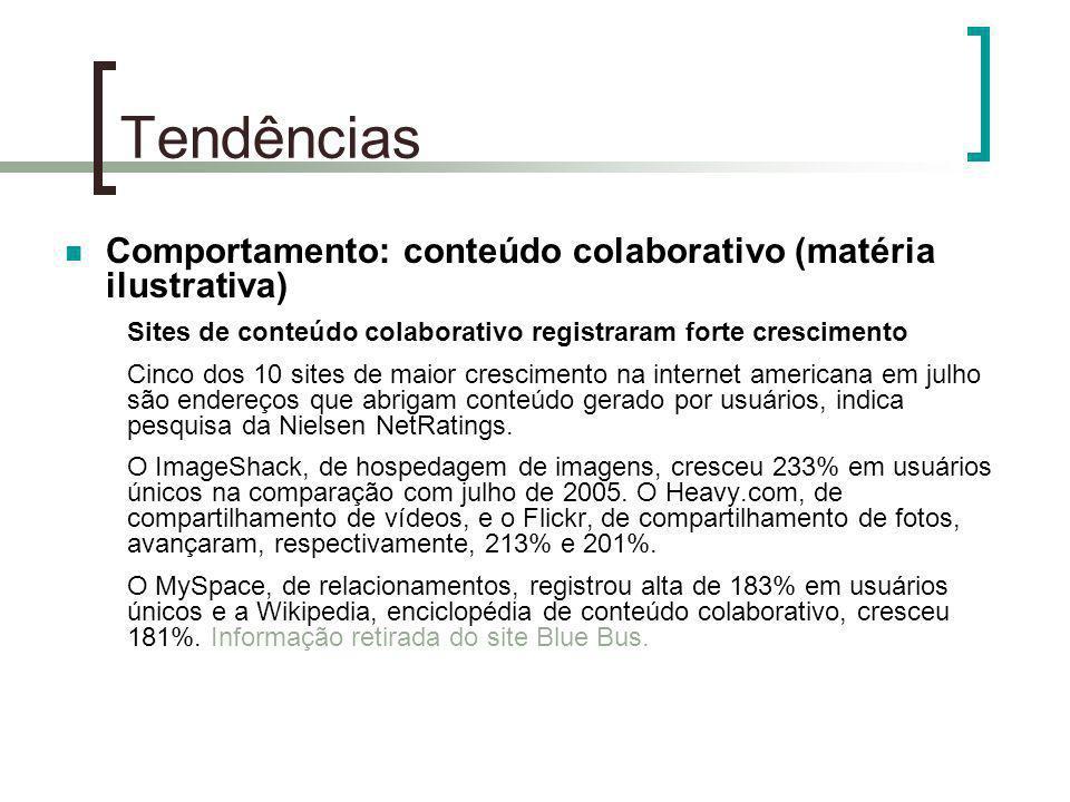 Tendências Comportamento: conteúdo colaborativo (matéria ilustrativa) Sites de conteúdo colaborativo registraram forte crescimento Cinco dos 10 sites