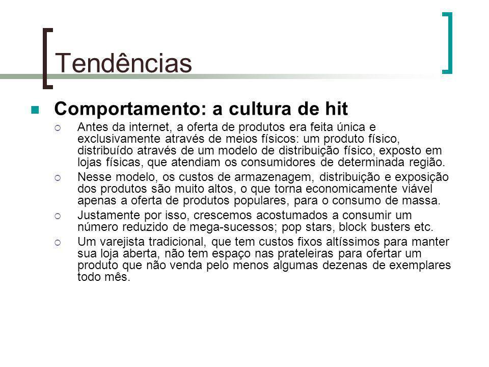 Tendências Comportamento: a cultura de hit Antes da internet, a oferta de produtos era feita única e exclusivamente através de meios físicos: um produ