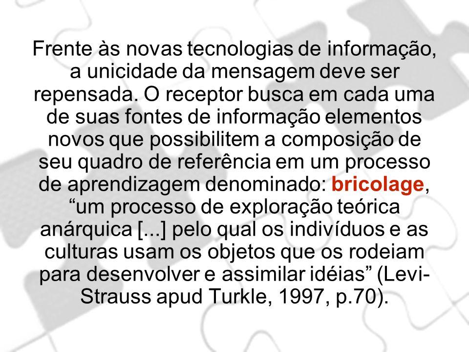 Frente às novas tecnologias de informação, a unicidade da mensagem deve ser repensada. O receptor busca em cada uma de suas fontes de informação eleme