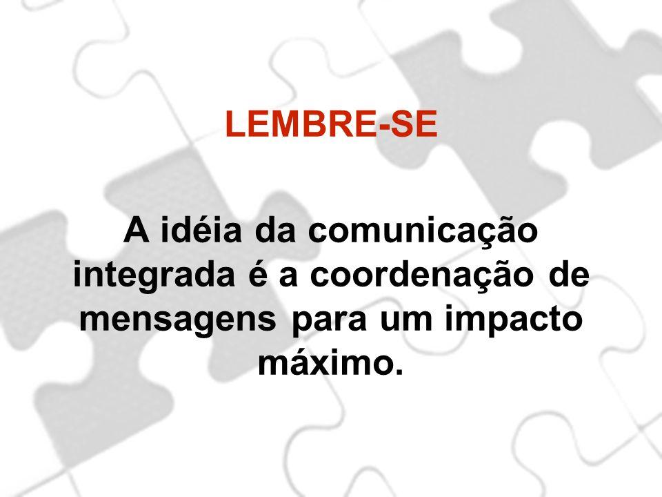 LEMBRE-SE A idéia da comunicação integrada é a coordenação de mensagens para um impacto máximo.