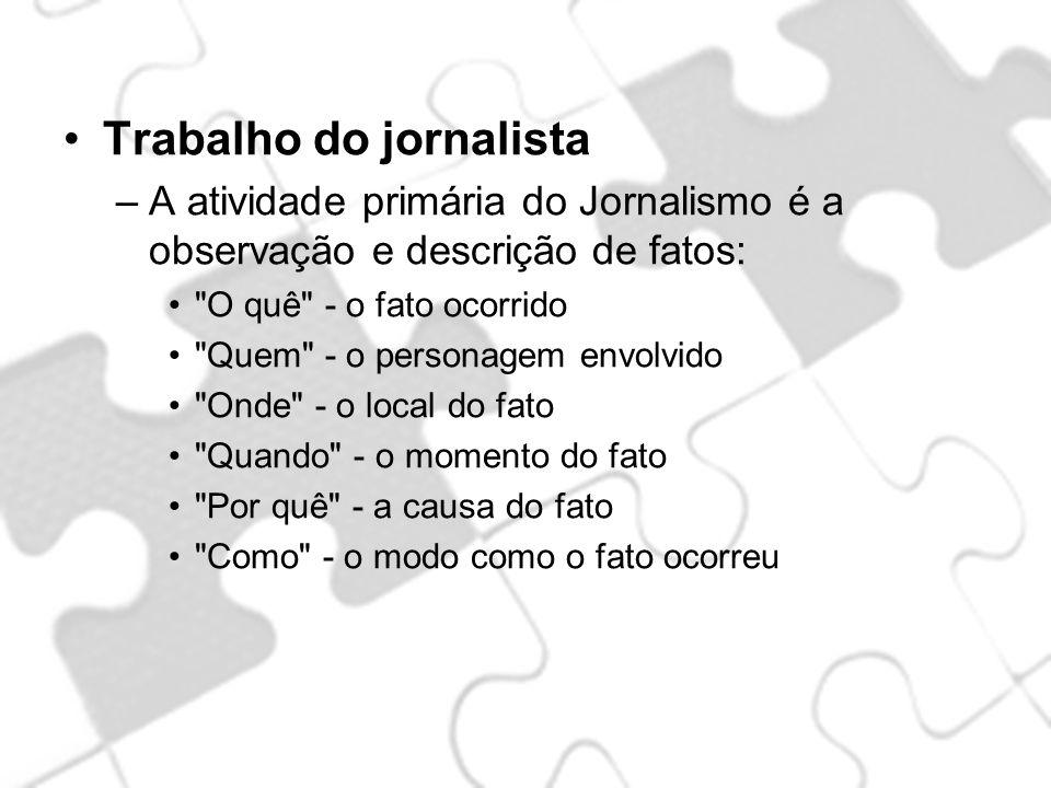Trabalho do jornalista –A atividade primária do Jornalismo é a observação e descrição de fatos: