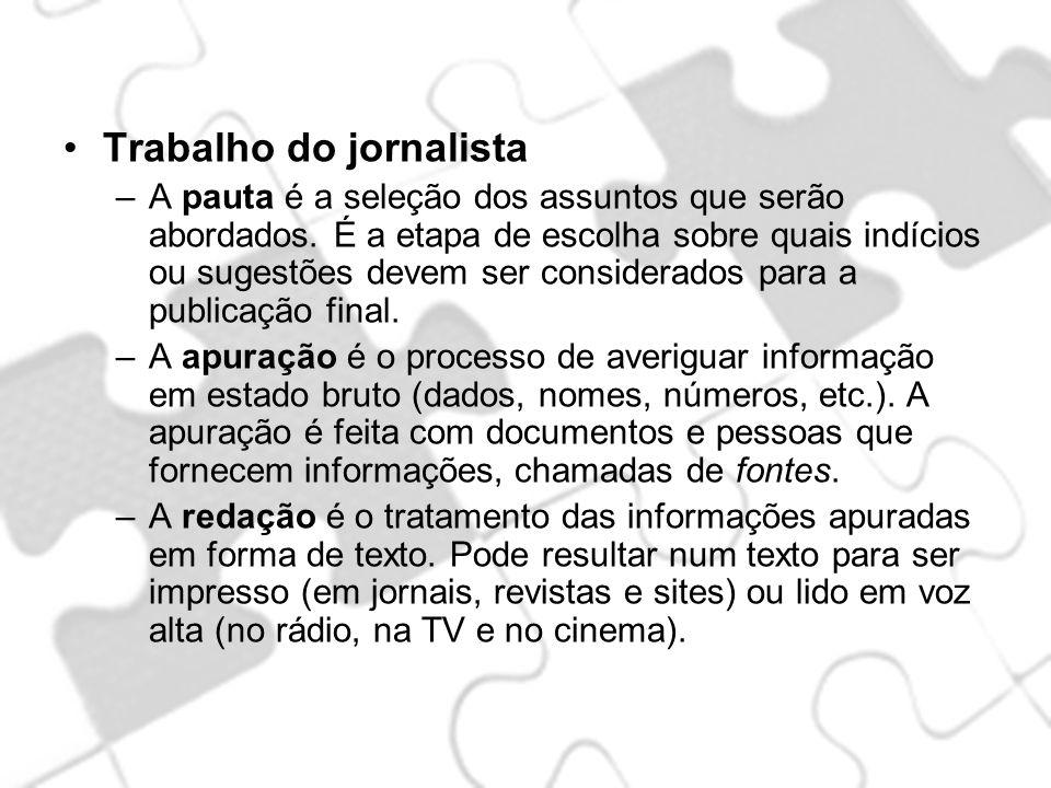 Trabalho do jornalista –A pauta é a seleção dos assuntos que serão abordados. É a etapa de escolha sobre quais indícios ou sugestões devem ser conside