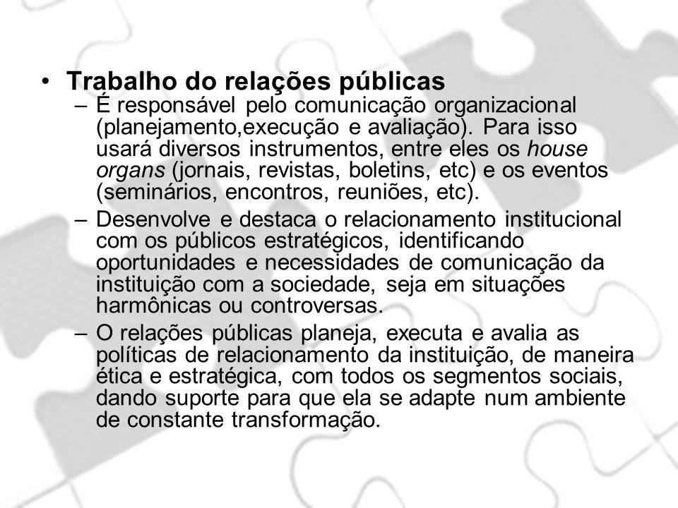 Trabalho do relações públicas –É responsável pelo comunicação organizacional (planejamento,execução e avaliação). Para isso usará diversos instrumento