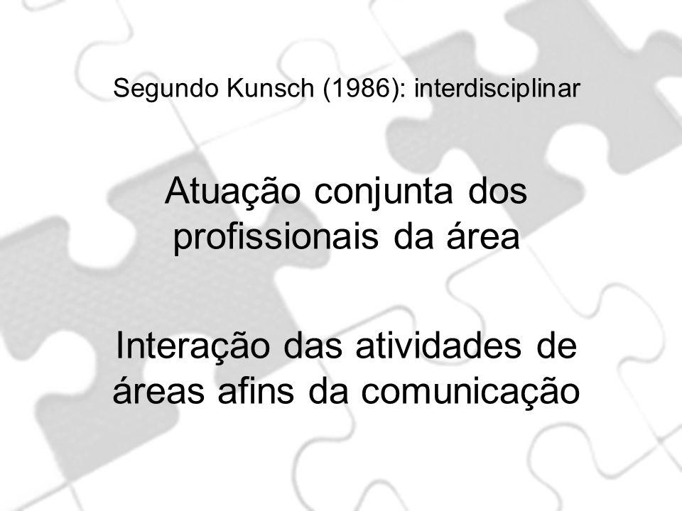 Segundo Kunsch (1986): interdisciplinar Atuação conjunta dos profissionais da área Interação das atividades de áreas afins da comunicação