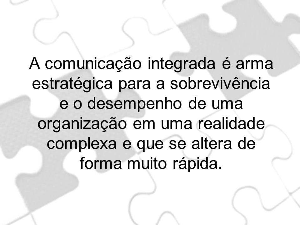 A comunicação integrada é arma estratégica para a sobrevivência e o desempenho de uma organização em uma realidade complexa e que se altera de forma m
