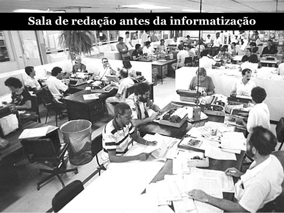 Sala de redação – início da informatização