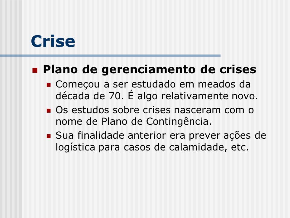 Plano de gerenciamento de crises Começou a ser estudado em meados da década de 70. É algo relativamente novo. Os estudos sobre crises nasceram com o n