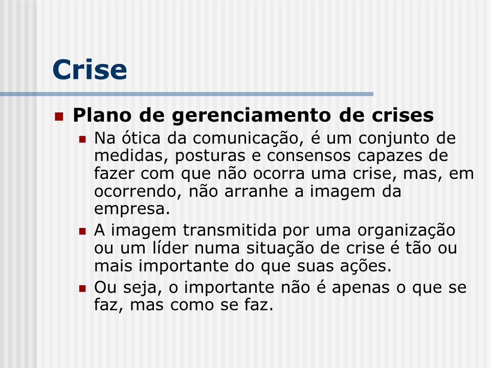 Plano de gerenciamento de crises Na ótica da comunicação, é um conjunto de medidas, posturas e consensos capazes de fazer com que não ocorra uma crise, mas, em ocorrendo, não arranhe a imagem da empresa.