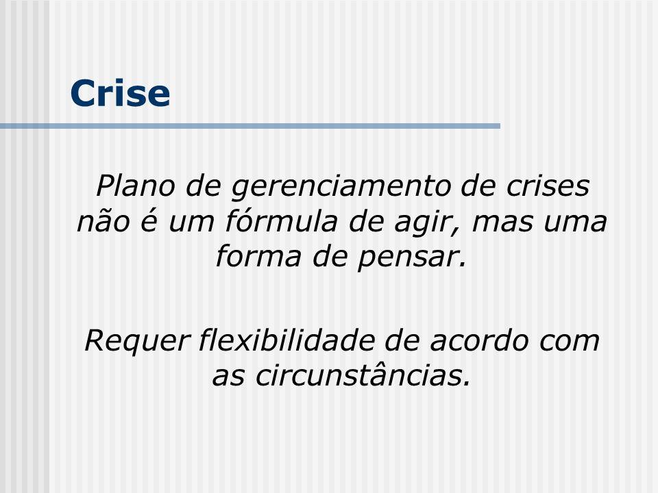 Crise Plano de gerenciamento de crises não é um fórmula de agir, mas uma forma de pensar. Requer flexibilidade de acordo com as circunstâncias.