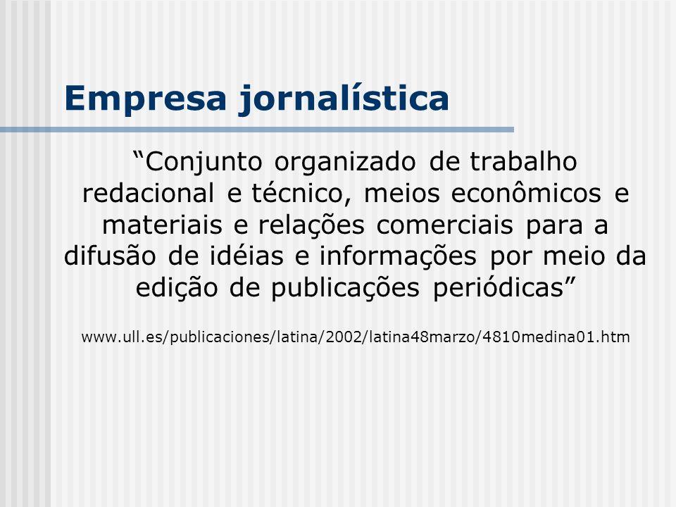 Empresa jornalística Conjunto organizado de trabalho redacional e técnico, meios econômicos e materiais e relações comerciais para a difusão de idéias