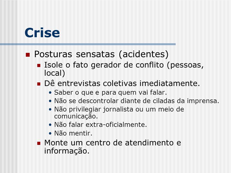 Crise Posturas sensatas (acidentes) Isole o fato gerador de conflito (pessoas, local) Dê entrevistas coletivas imediatamente. Saber o que e para quem