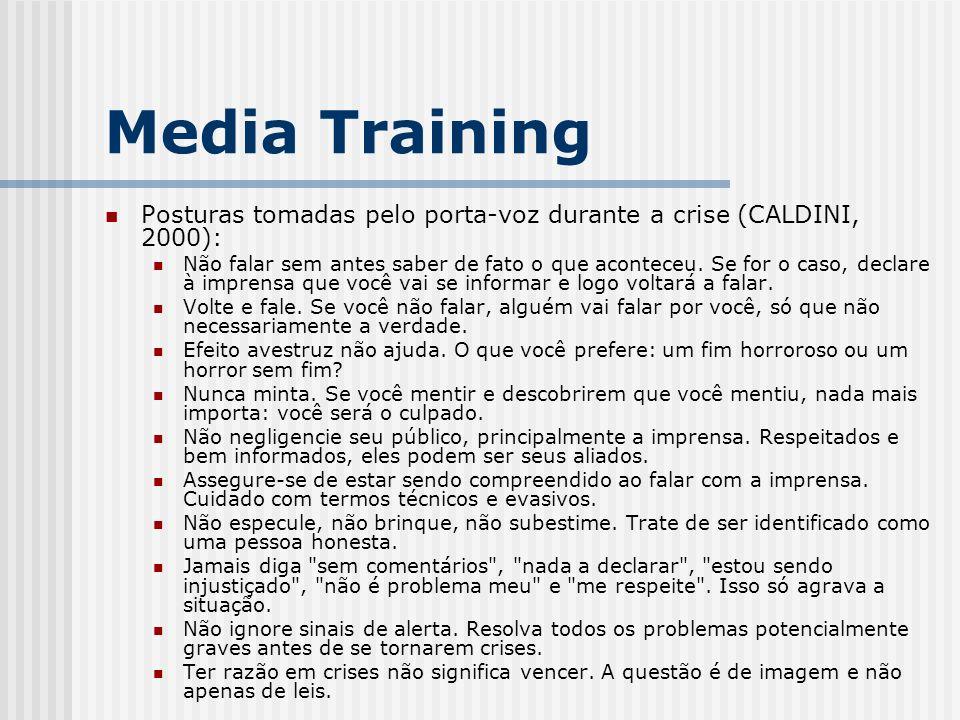Posturas tomadas pelo porta-voz durante a crise (CALDINI, 2000): Não falar sem antes saber de fato o que aconteceu. Se for o caso, declare à imprensa