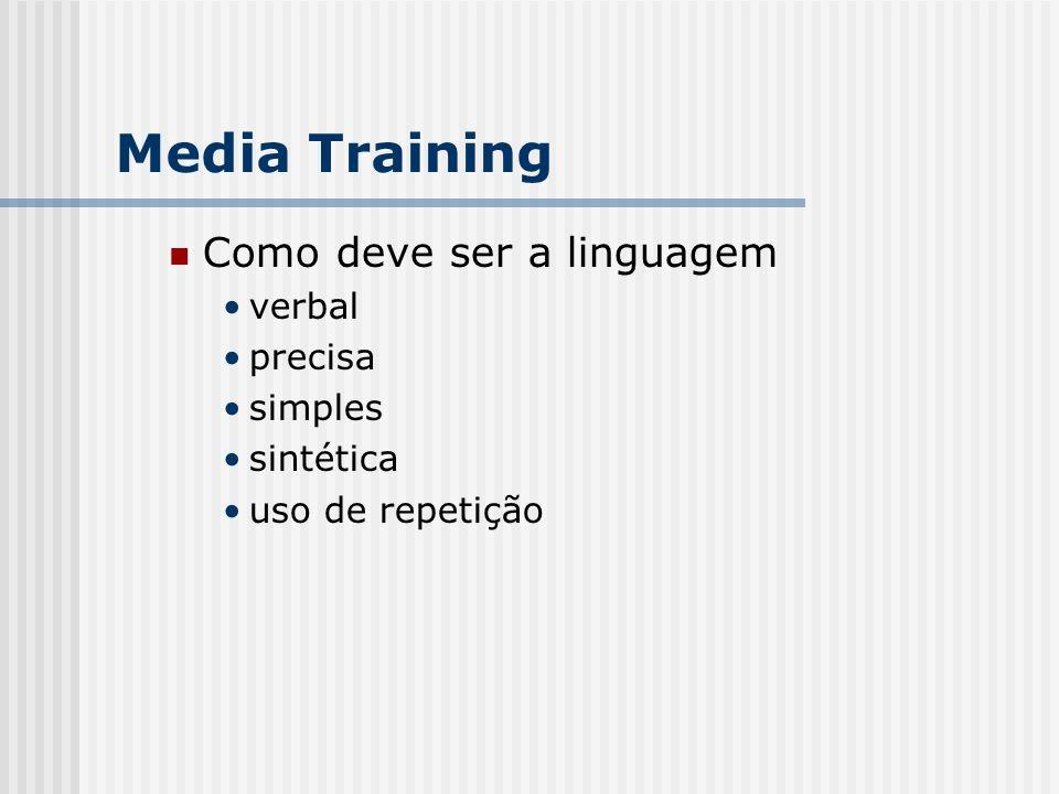 Como deve ser a linguagem verbal precisa simples sintética uso de repetição Media Training