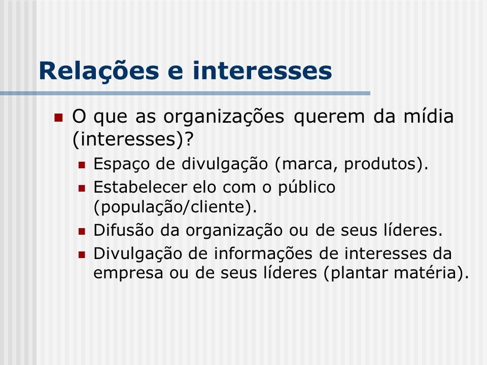 Relações e interesses O que as organizações querem da mídia (interesses)? Espaço de divulgação (marca, produtos). Estabelecer elo com o público (popul