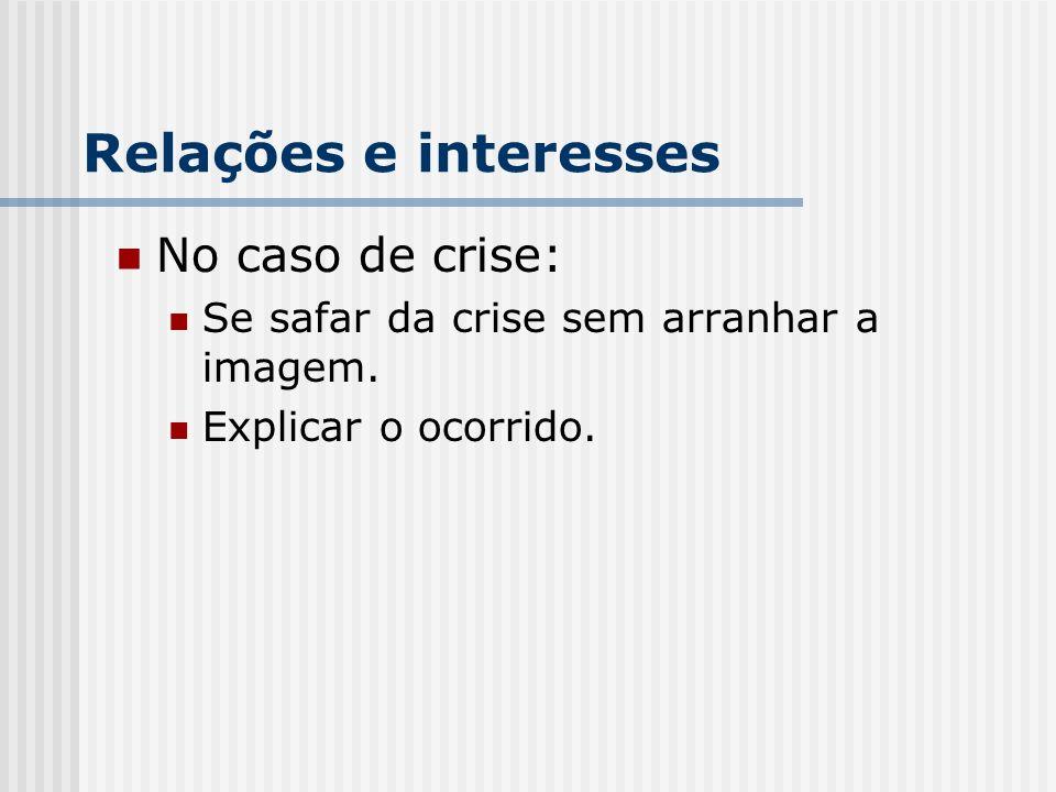 Relações e interesses No caso de crise: Se safar da crise sem arranhar a imagem.
