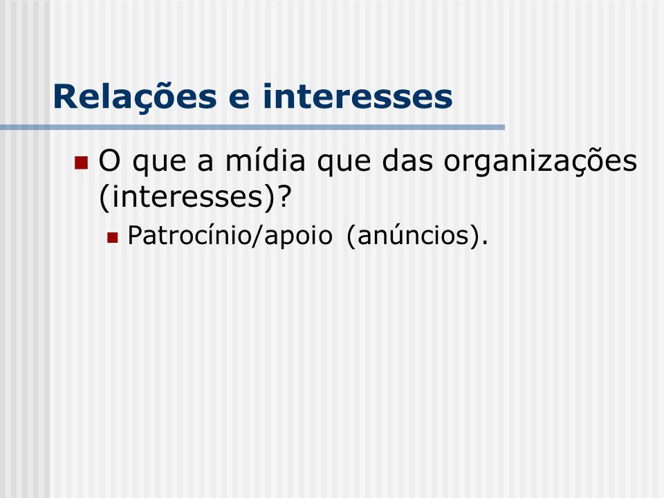 Relações e interesses O que a mídia que das organizações (interesses)? Patrocínio/apoio (anúncios).