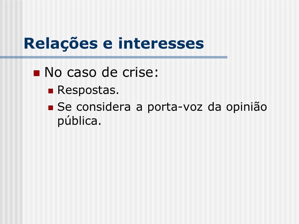 Relações e interesses No caso de crise: Respostas. Se considera a porta-voz da opinião pública.